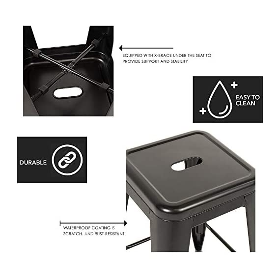 """FDW Metal Bar Stools Set of 4 Counter Height Barstool Stackable Barstools 24 Inch 30 Inch Indoor Outdoor Patio Bar Stool Home Kitchen Dining Stool Backless Bar Chair (Black, 24"""") 3 ❤【STACKABLE AND EASY TO STORAGE】: Each bar stools is the same size, and the feet are open to the outside, which is a special design to storage.Durable bar stools can be stacked and to save storage space when you don't need them. ❤【THE MATTE RUST-PROOF METAL STOOLS】: The 30"""" bar stools is protected by high-quality paint, high-quality paint forms a protective film on the surface of the bar stools, which is scratch-resistant and smell-free. Easy to clean, and suitable for a wide range of occasion. ❤【PROTECT THE FLOOR】: Anti-slip plastic mats on the four feet of the bar chair,can be slip-resistant and protect your floor when you move it. There are four pedals around the bar stools. When you are tired, you can placed your feet on footrest, relax and enjoy your time."""