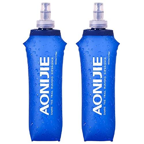 Azarxis Gourde Souple Running 500ml Flasque Souple Bouteille d'eau Pliable Réservoir en TPU pour Sac d'Hydratation Randonnée Marathon (500ml - 2 Pièces)