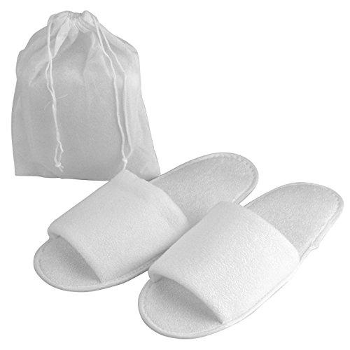 Mogoko Unisex Hausschuhe Hotelslipper tragbar Gäste Slipper Frottee Slipper Non-Disposable Gästehausschuhe Universalgröße Streifen (Weiß)