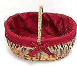 SIDCO Einkaufskorb Bügelkorb Füllkorb Tragekorb Weide Flechtkorb rote Textileinlage
