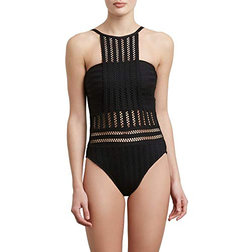 Kenneth Cole New York Women's High Neck Bandeau One Piece Swimsuit, Black/Crochet // Tough Luxe, Extra Large