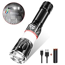 Magnetic LED Flashlight Rechargeable, Karrong USB Flashlights Super Bright Zoom with 4 Modes for Outdoor Hiking Camping