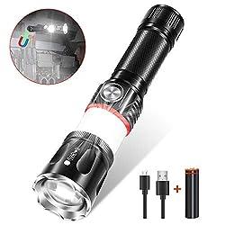 LED Taschenlampe Wiederaufladbare, Karrong Magnetic Superhelle Zoombar USB Taschenlampen mit 4 Modi für Outdoor, Wandern und Camping (1 Stück)