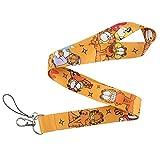 HANGQINGHENG 猫漫画ストラップボタン電話ホルダーおかしいネックストラップ付きキーリング証Manualの動物ストラップハンギングロープ