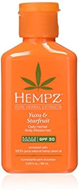 Hempz Yuzu & Starfruit Daily Herbal Moisturizer with Broad Spectrum SPF 30 - Fragranced, Paraben-Free Sunscreen with 100% Natural Hemp Seed Oil for Women - Premium Skin Care Products