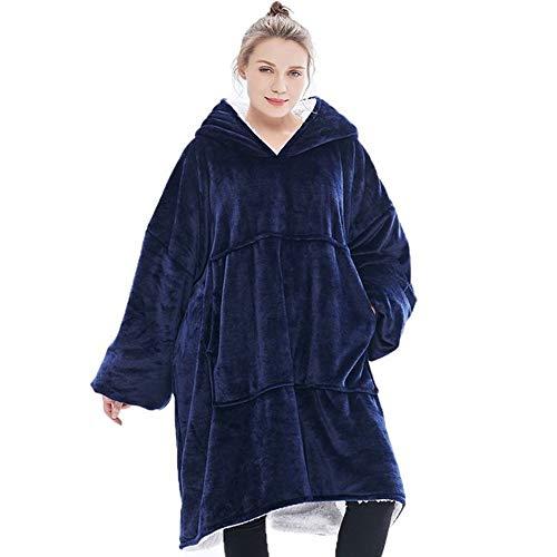 Prtukyt Hoodie-Sweatshirt-Decke, übergroßer super weicher Warmer bequemer Riesen-Kapuzenpulli, passend für Erwachsene Männer Frauen Teens (Blau)