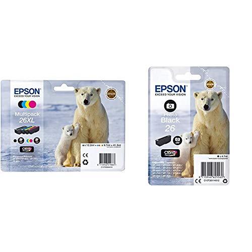 Epson Tinta Epson Multipack XL 26 (Set De 4) válido para los Modelos Expression Premium + C13T26114012 - Cartucho de Tinta, Negro válido para los Modelos