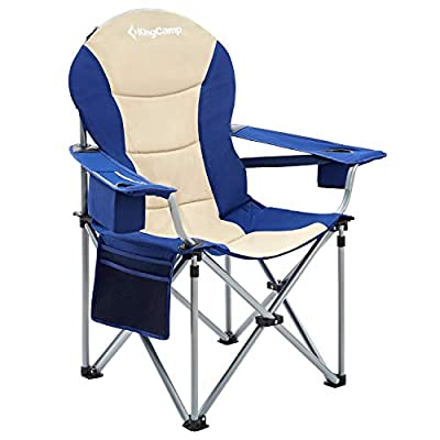 KingCamp Oversized Heavy Duty Padded Outdoor Camping Folding Chair with Lumbar Back Support, Cooler, Armrest, Cup Holder, Side Pocket, Supports 353 lbs, Beige