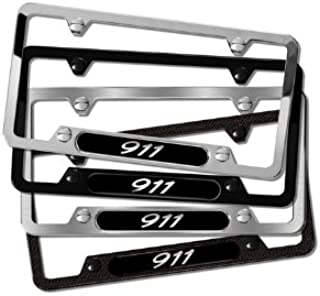 Genuine Porsche 911 Black Stainless Steel License Plate Frame
