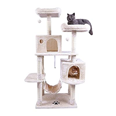 Hey-brother Large Multi-Level Cat Tree Condo Furniture with Sisal-Covered Scratching Posts, 2 Bigger Plush Condos, Perch Hammock for Kittens, Cats and Pets Beige MPJ020M