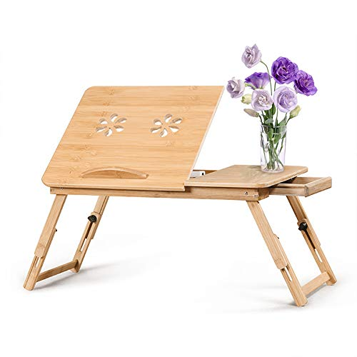 Tavolino da Letto in bambù, bambù Puro al 100% Computer Portatile, Vassoio da Letto in bambù Regolabile in 5 Posizioni Colazione Tavolino