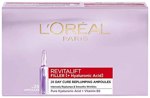 L'Oréal Paris Ampullen, Revitalift Filler, Anti-Aging Gesichtspflege, 4-Wochen-Kur, Anti-Falten und Volumen, Hyaluronsäure, 28 x 1,3 ml