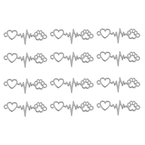 Happyyami 100 Piezas de Abalorios de Corazón Hueco para Hacer Joyas Colgantes de Corazón para Hacer Joyas Accesorios de Artesanía para Llaveros Collares Pulseras de Plata