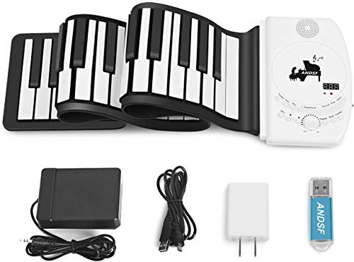 Portable 61 Keys Roll Up Piano - ANDSF Upgrade Version Flexible Eelectronic Piano with intelligent processing chips MP3 Stereo Speaker Built in Rechargeable Battery Suitable For Begainners and Kids