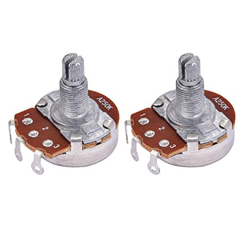 Artibetter 2 Stks Gitaar Potentiometer A2250K Lange Gekartelde Split As Push Pull Potentiometer Volume Tone Audio Taper Switch Elektrische Gitaar Onderdelen Zilver