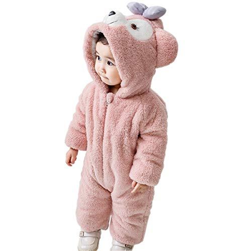 Mum&nnyクリスマス服キッズコスチュームベビー服クマ着ぐるみロンパースお正月年賀状記念撮影ピンク80