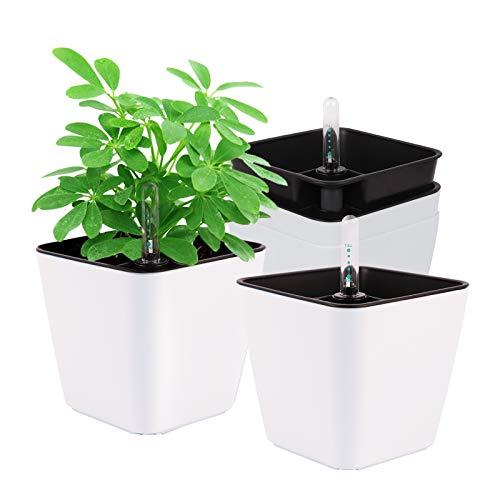 Herefun Plastik Selbstbewässerung Blumentopf mit Wasseranzeiger, 4er-Set Plastik Pflanzgefäße Selbstwässernde Wasserspeicher Pflanzgefäße Klein Blumentopf Pflanztopf für Zimmerpflanzen(A)