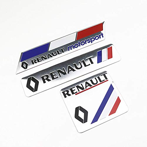 NA 3 Unids 3D Emblema Insignia Logotipo de Aluminio Pegatinas de Coches para Renault Megane 2 3 Plumero Logan Clio Laguna 2 Captur