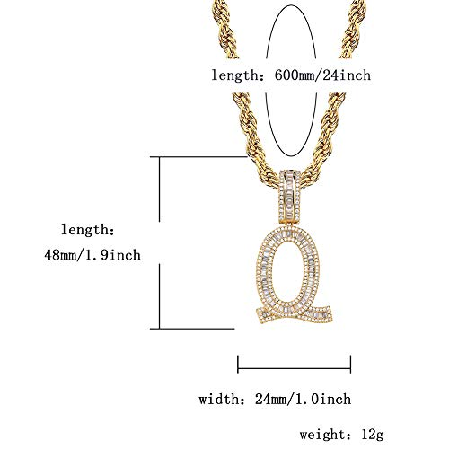 GUCY Initial Pendant Necklace Iced Out Cubic Zirconia Letter Pendant Chain Personalized Name Necklace for Women Gift(Gold Q, 24)