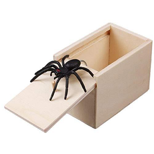 Keenwo The Original Spider Prank Box - Scherzartikel zum Erschrecken Lustig Spinne in Einer Holzkiste Spielzeug-Streich, Geschenk für Frau und Mann witzig Überraschungsbox (Spinne)