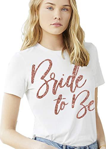 Bride T-Shirt for Wedding - Rose Gold Glam Bride to Be T-Shirt - Bride Tshirt for Women White - Medium - White Tee(GlmB2B RsG) Wht/Med