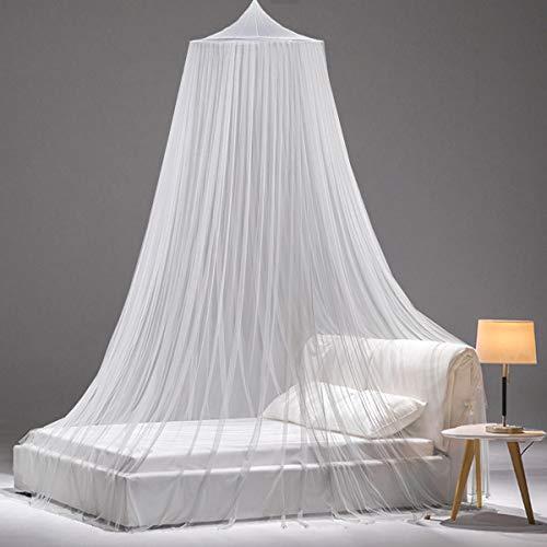 SZHTFX Weißes Moskitonetz für Betthimmel, großes Kuppelbett zum Aufhängen, Zelt für Doppel-/Einzelbett, 12 Meter Abdeckung, ideal für Zuhause oder Urlaub (cremeweiß)