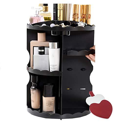 XH Organizador de Maquillaje Pantalla de Almacenamiento cosmético de rotación 360, para cremas, perfumes, lociones y más para el Cuidado de la Piel (Negro) (Color : Black, Size : 23 * 23 * 30.5cm)