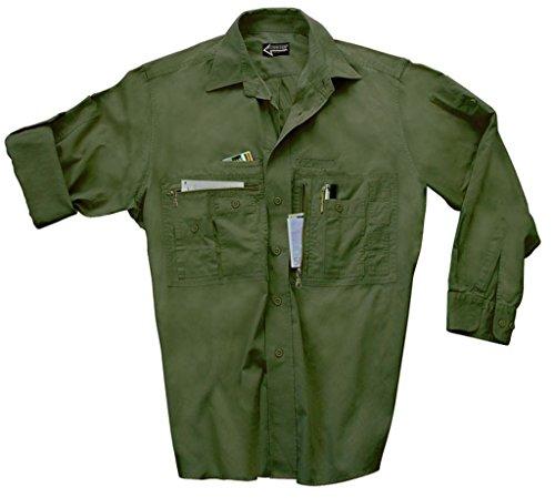 Commando Industries CI Traveller Hemd mit vielen Taschen Outdoorhemd Reisehemd Freizeitshirt Verschiedene Ausführungen (XL, Oliv)