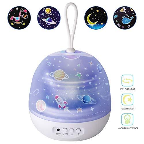 LED Sternenhimmel Projektor Lampe, Nachtlicht mit 8 Farbwechsler, Projektor Sterne Lampe mit 4 Motive,360°Drehbar für Geburtstags, Halloween, Weihnachtsgeschenk Nachttischlampe
