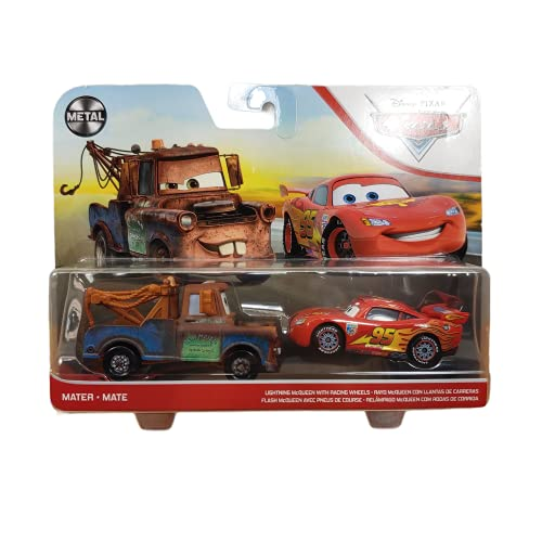 Disney and Pixar Cars 3 Lightning McQueen & Mater 2-Pack, 1:55 Scale Die-Cast Fan Favorite Character Vehicles for Racing and Storytelling Fun, Gift for Kids Age 3 and Older