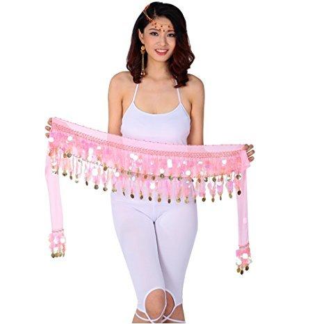 25 Off On Vritraz Women S Chiffon Belly Dance Hip Scarf Waistband Belt Skirt Pink And Golden Colors Beads Pink 56 On Amazon Paisawapas Com