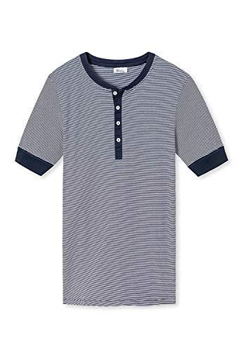 Schiesser Revival Herren Henley Shirt - 1/2 Arm, Karl-Heinz, Feinripp, Ringel Blau M