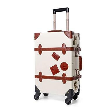 UNIWALKER Ivory Pu Leather Vintage Luggage TSA Lock Carry On Suitcase for Womens (26 , White)