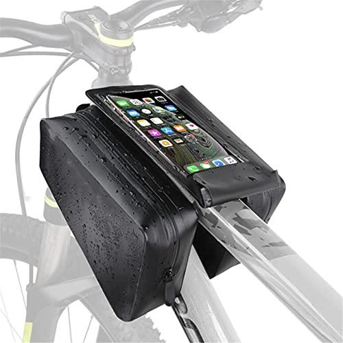 GHJGTL Bolso De Marco De Bicicleta, PVC A Prueba De Agua Bicicleta De Gran Capacidad Pannier, Pantalla Táctil De Tubo Superior De Bicicleta Bolsa De Teléfono Móvil,Negro