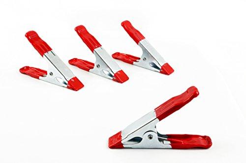 * 4er-Set Leimzwingen aus Metall | Griffe und Klemmbacken rot gummiert | Leim- Bastel- Feder- Montage-Klemme