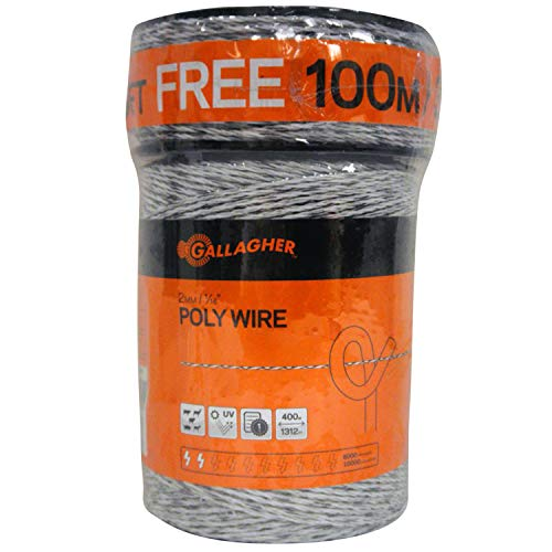 Gallagher Electric Fence Poly Wire | Bonus Pack - 1312 Ft Plus Free 328 Ft Roll | 6 Stainless Steel Strands for Reliable Conductivity and Rust Resistance | 1/16
