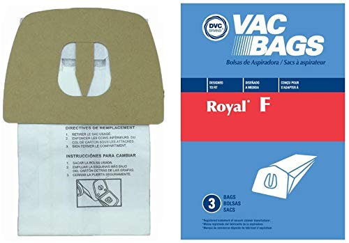 DVC Replacement Vacuum Bags Type F Fit Royal & Dirt Devil Canisters...
