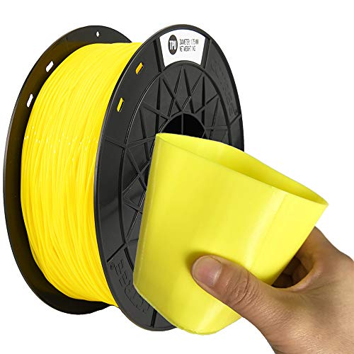 CCTREE Easy Print TPU Flexible Filament 1.75 mm 1 kg Spool, Upgrade Stronger Toughness Printing Accuracy +/- 0.03 mm For 3D Printer Creality Ender3v2, Anycubic Mega 3D Printer (Yellow)