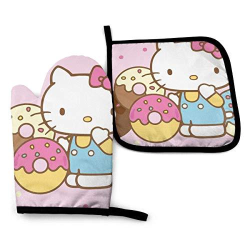 Asa Dutt528251 Guanti da Forno e presine - Hello Kitty con Ciambelle da Cucina Resistenti al Calore Guanti da Forno e Set di presine