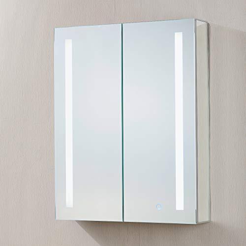 "Bathroom Medicine Cabinet, Aluminum, Recessed/Surface Mount, 24"" x 30"", 2 Door, Mirrored w/ 2 LED Strips"