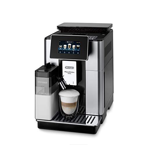 De'Longhi ECAM612.55.SB PrimaDonna Soul Macchina Automatica per Caffè in Chicchi, 1450 W, 2 Cups, LatteCrema System, Bean Adapt Technology, Acciaio e Plastica, Silver, Black