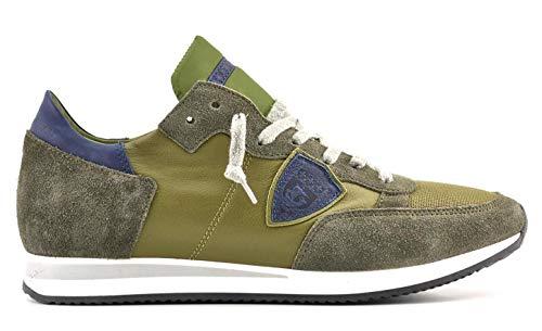 Philips Model Modello Tropez Tela e Camoscio Sneakers Uomo COL Verde TRLU 1105, Grün - Glas. - Größe: 43 EU