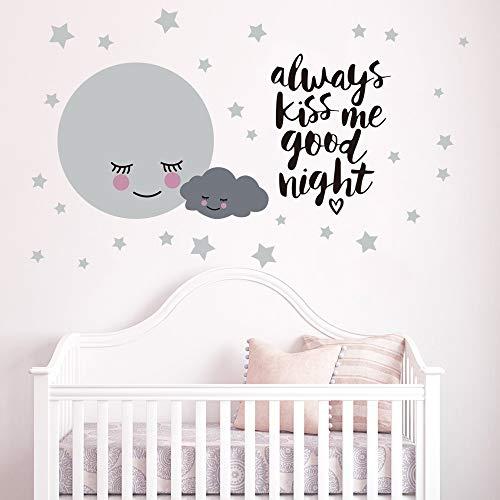 Runtoo Pegatinas de Pared Estrellas Luna Stickers Adhesivos Vinilo Frases Always Kiss Me Goodnight Decorativas Dormitorio Habitacion Bebe