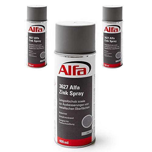 Zinkspray Zink Spray 3 x 400 ml geprüfter Korrosionsschutz Rostschutz aus Zink hitzebeständig schnelltrocknend Grundierung für Metall und Punktschweißung