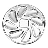 Yardwe Stainless Steel Oyster Plate Oyster Shell Shaped Snail Plate 8 Slots Oyster Pan for Oysters Sauce Lemons Seafood Serving Tray Grilling Pan
