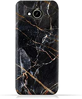 HTC Desire 10 Compact TPU Silicone Protective Case with Dark Grey Marble Texture