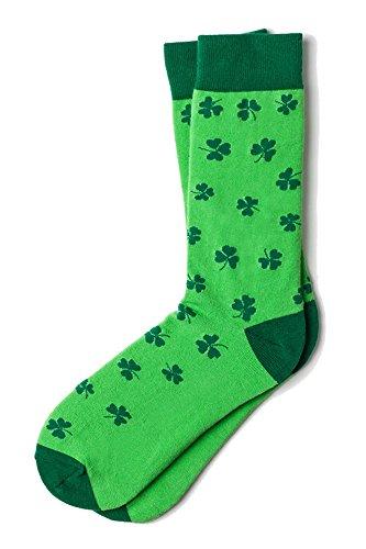 Men's Green Luck of the Irish Shamrock St Patrick's Crew Dress Socks