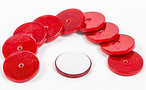 All Ride Reflektor Rund 62 mm,10 Stück Katzenaugen sebstklebend oder zum Schrauben, Farbe rot
