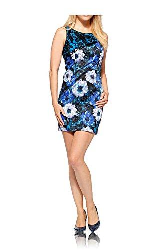 Kleid m. Spitze, blau-bunt von Linea Tesini Groesse 42