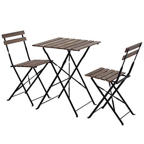 COSCANA Retro Bistro 3 Setzt Möbelholztisch Und 2 Holzstühle, Mit Einem Faltenden Metallrahmen Für Den Außen-Patio-gartengarten-Veranda